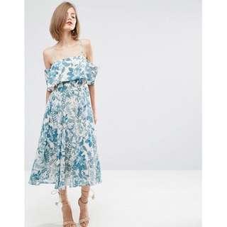 Porcelain Print Cold Shoulder Midi Dress