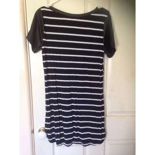 Striped T-shirt Dress With Leather Shoulders