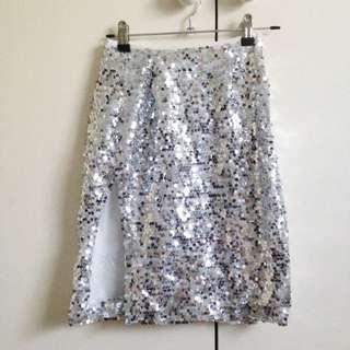 Gorgeous Silver Sequin Mini Skirt