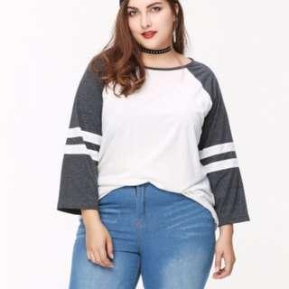 PO PLUS SIZE Raglan Dual Colour Stripes Long Sleeve Blouse Top