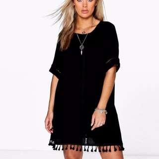 PO PLUS SIZE Crochet Casual Slip On Sleeve Loose Dress Top