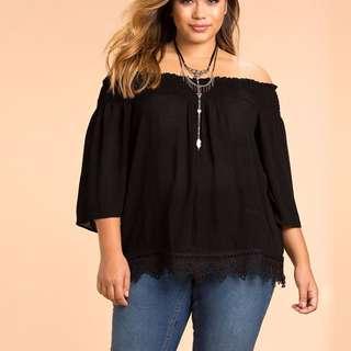 PO PLUS SIZE Off Shoulder Black Crochet Loose Blouse Top