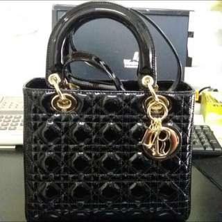 Lady Dior Medium Patent Black with Gold Buckle. Size 23cm.