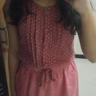 Red polkadot/ stripes dress by Solemio