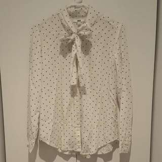 Uniqlo Polka Dotted Bow Blouse