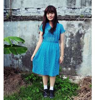 | JP VINTAGE | BLUE POLKA DOT DRESS
