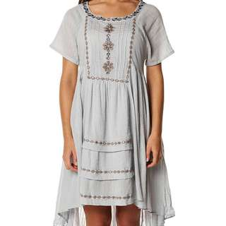 Free People Folk Dress In Cloud Small