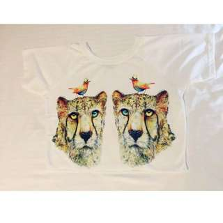 __BrandNew__Comfy Big Cat Print Crop Top