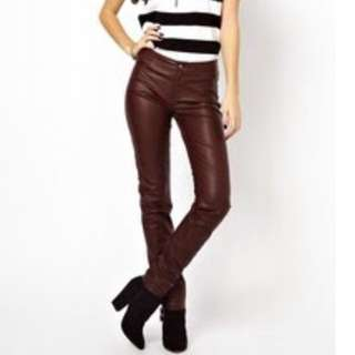 ONLY Fake Leather Pants/Jeans Oxblood Size 10