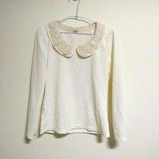 (降)蕾絲圓領壓紋宮廷風米白上衣 小香風 氣質款 韓版
