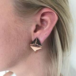 Mimco Clip-on Rose Gold Geometric Earrings