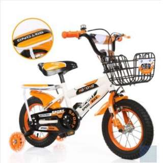 "BN: 18"" White&Orange Children Bike/Bicycle With Back Seat And Tricycle (Self-assemble)"