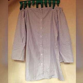 offshoulder button down dress