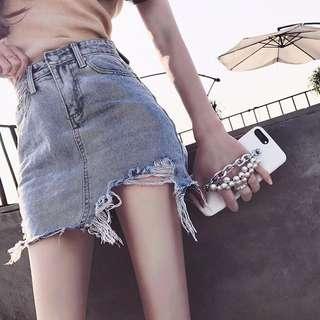 ALICE SELECT 重磅不規則顯瘦 磨破 毛邊 牛仔裙 A字裙 高腰裙