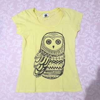 Yellow T-Shirt with Owel print