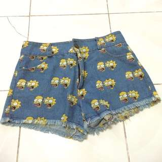 Maong Short With Printed