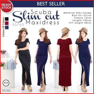Slim Cutside Longdress Maxidress Maxi Dress Gaun Formal Pakaian Wanita DS765
