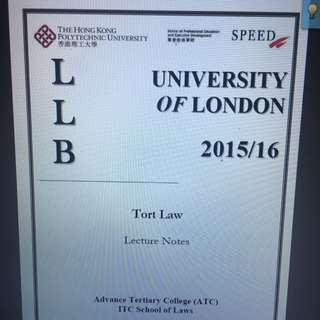 UOL LLB Tort Law notes from Poly U Speed