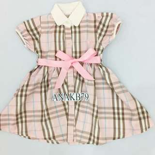 Burberry Inspired Pink Dress 3-4 Thn