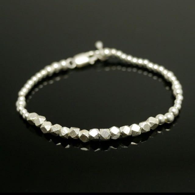 純銀手作銀珠切割珠圓珠手鍊