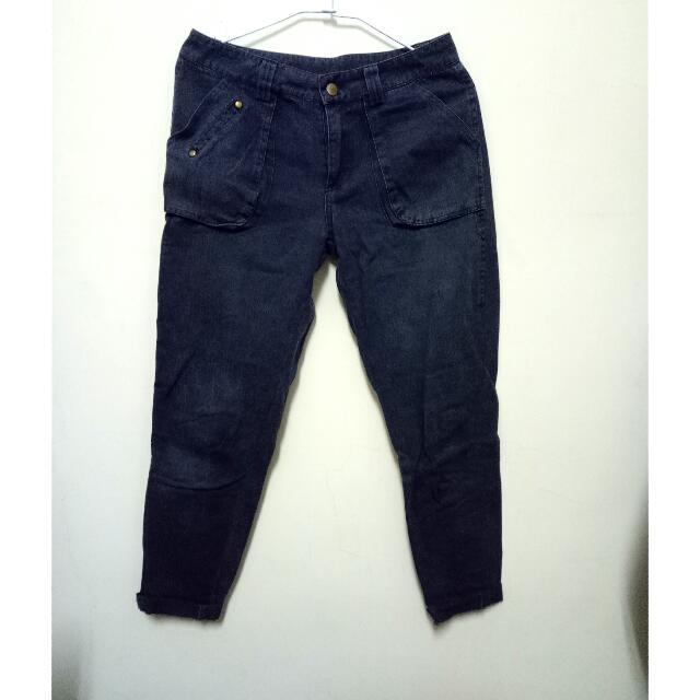 深藍色男友褲
