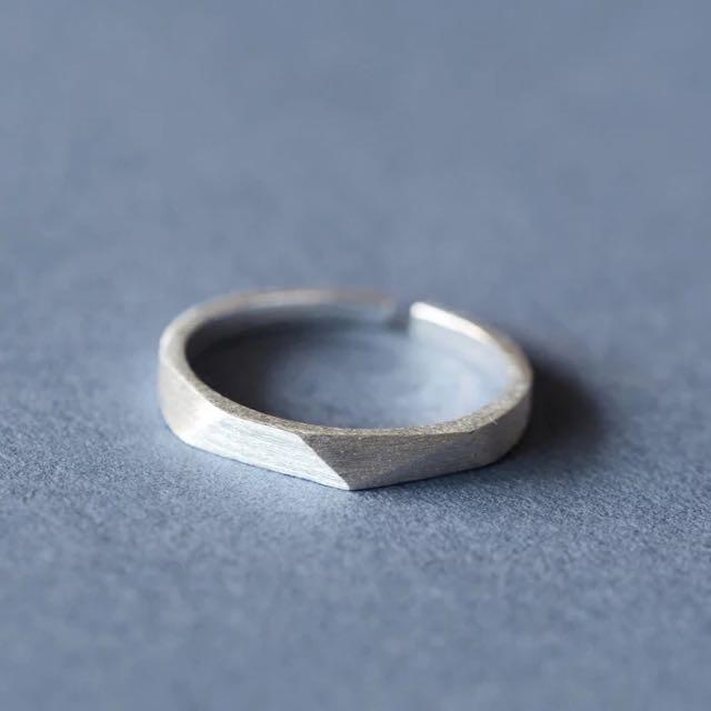 純銀切割幾何形開口可調戒指 男女適戴
