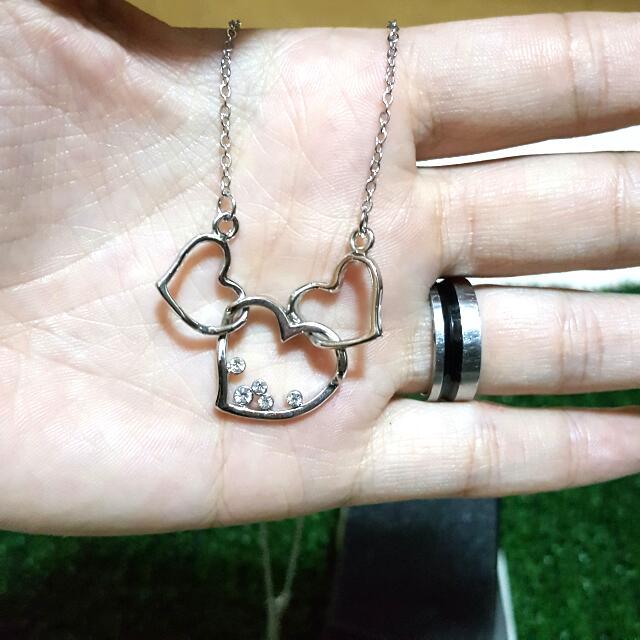 愛心 項鍊 心連心 鑲鑽 銀飾 鎖骨鏈