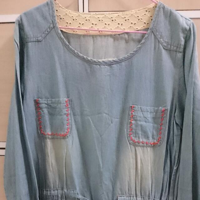 二手 日系 刷白 刺繡 長袖 腰帶 綁帶 抽繩 牛仔 單寧 連身裙 洋裝 古著