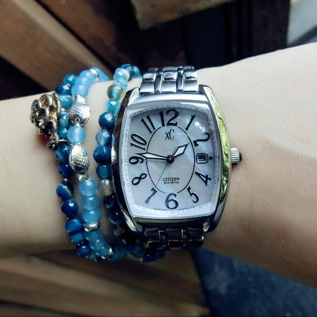 #我有手錶要賣 [星辰表] CITIZEN 粉色蝶貝光動能腕錶
