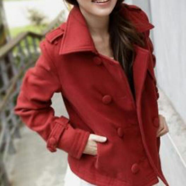 二手 queen shop 短版 厚 雙排釦 橘紅 紅 長袖 毛呢 毛衣外套 外套 大衣