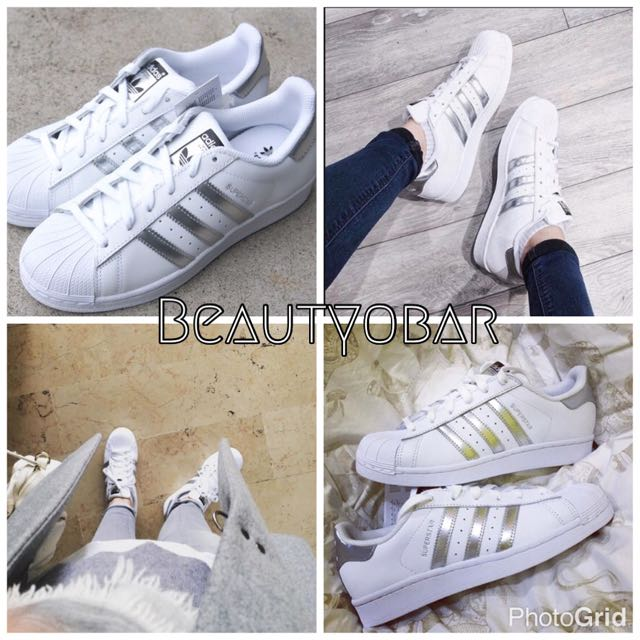🔺Adidas Superstar Color Footwear White/Silver Metallic/Core Black[AQ3091]極美金屬銀款💕