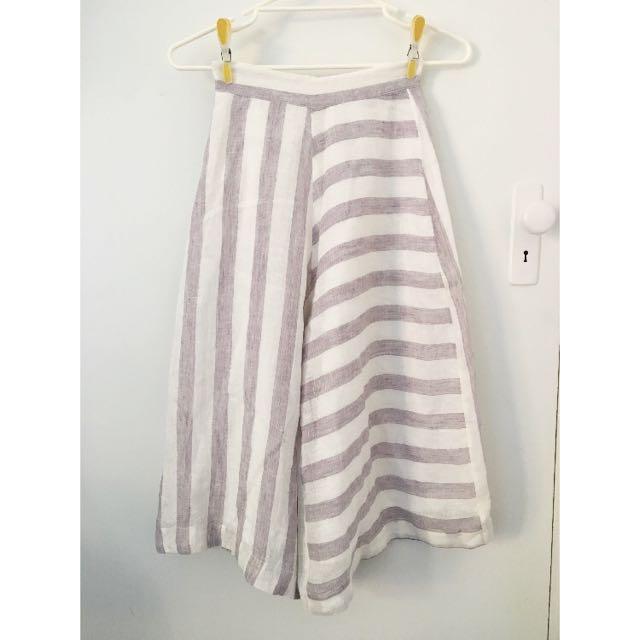 Alpha 60 Culottes/Pants Grey And White Striped XXS/6