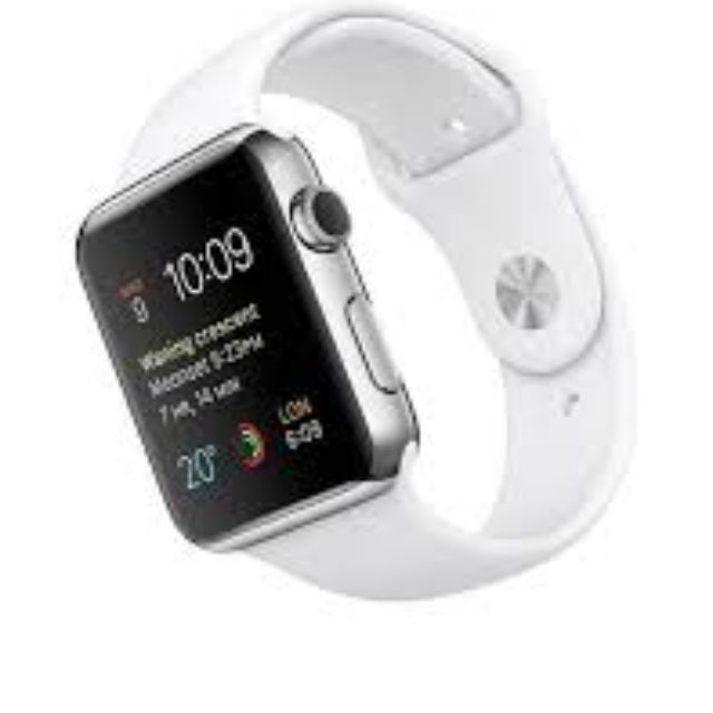 sale retailer 84b03 5650e Apple Watch 42mm MJ3V2ZP/A Stainless Steel Case with White Sport Band