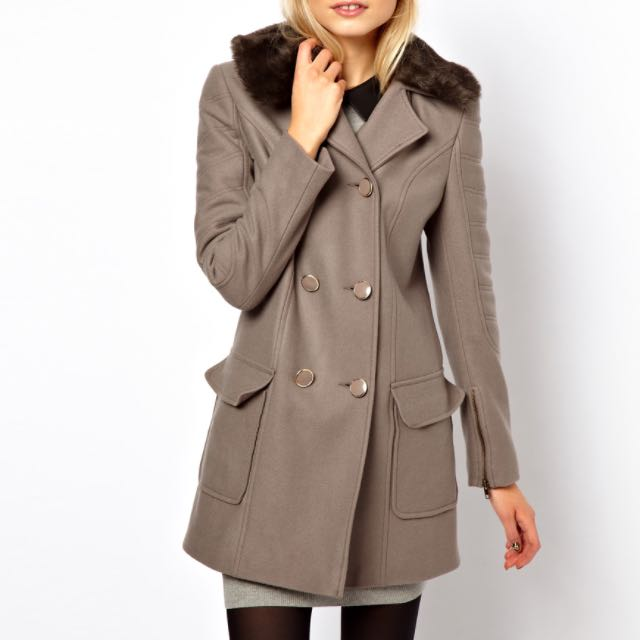 ASOS Size 8 grey fur collar coat with padded sleeve