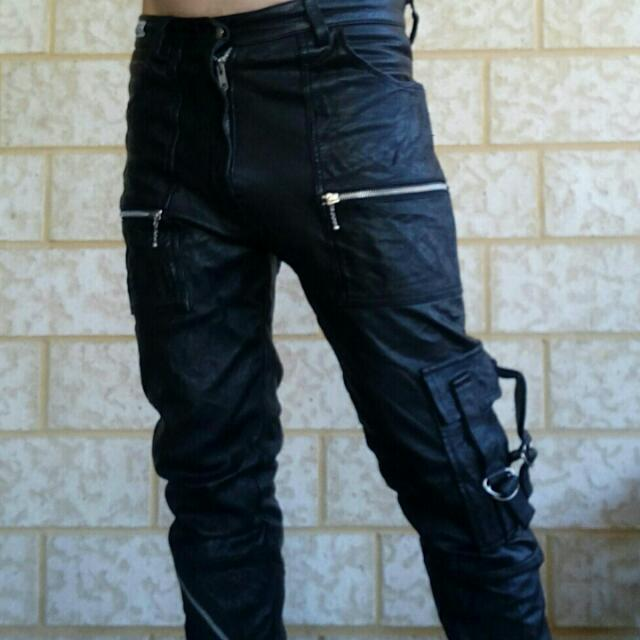 Black Leather & Zipper Road Protective Trousers.