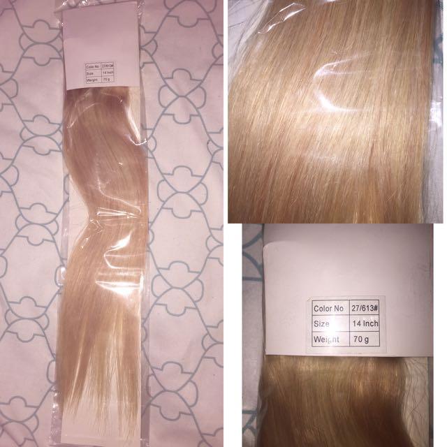 Bleach Blonde/ash Blonde Mix Human Hair Clip In Extensions