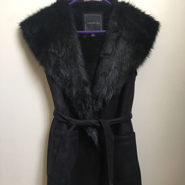 Brand New Forever New Black Fur Blazer Coat
