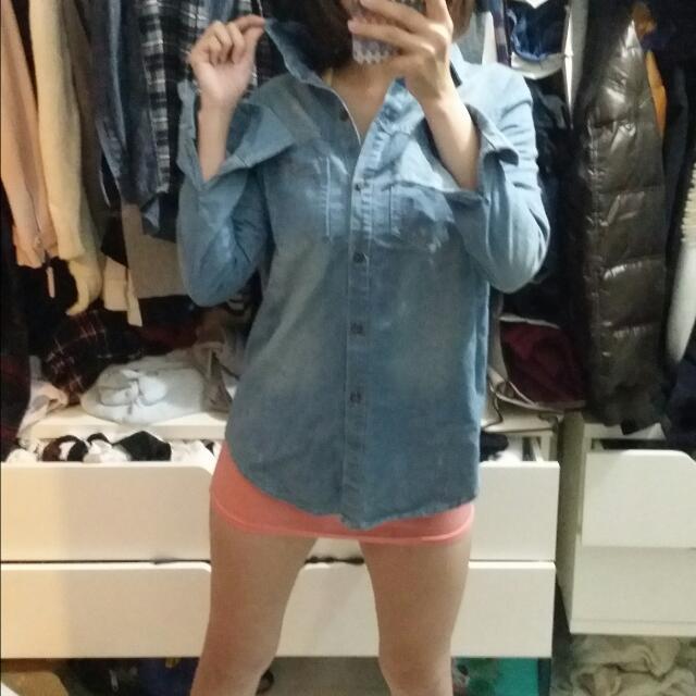 二手Caco美式休閒襯衫,混搭潮流,牛仔襯衫,