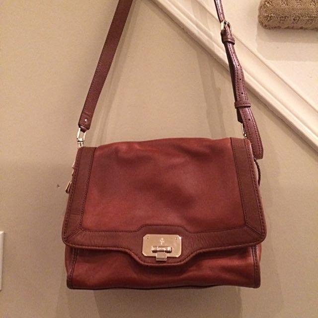 COLE HAAN Brown Leather Shoulder/Crossbody Bag