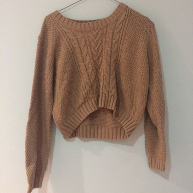 Cropped Cable Sweater