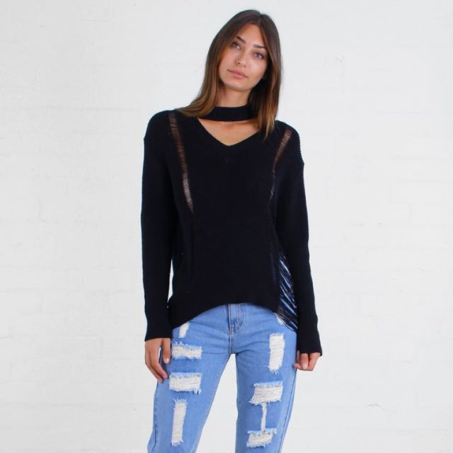 Distressed Choker Neck Dip Hem Knit