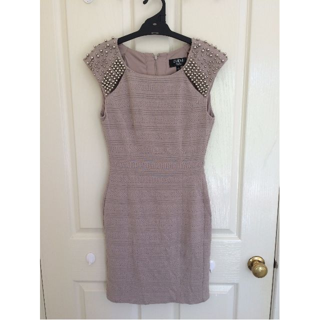 GUESS Tan Beaded Dress Size 4 (Silver Beading