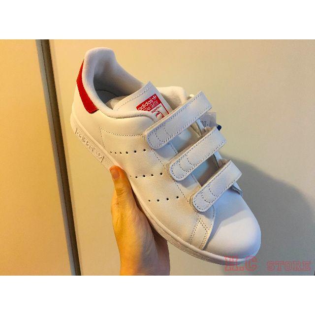 「H.C優惠」英國公司 Adidas Originals Stan Smith 紅尾 魔鬼氈