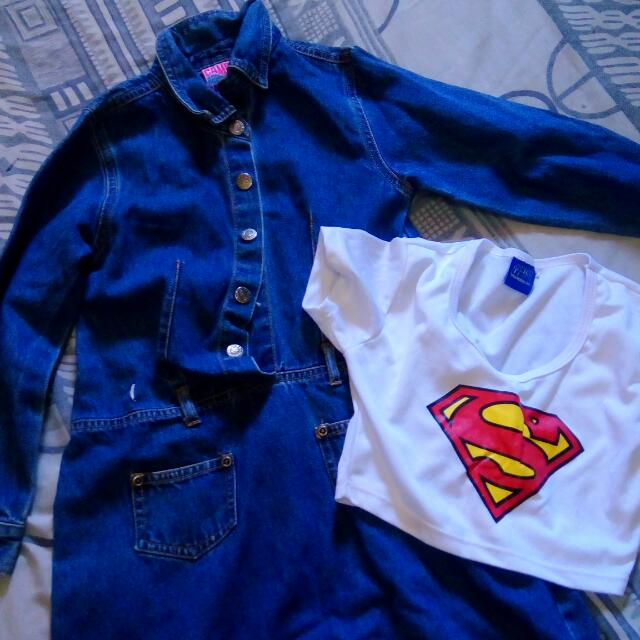 Kids Maong Dress With Crop Top Super Man.take All