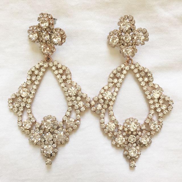 Mimco Crystal Encrusted Drop Earrings