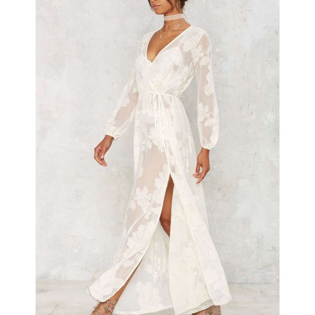 Nasty gal Sheer White Lace Floral Maxi Dress