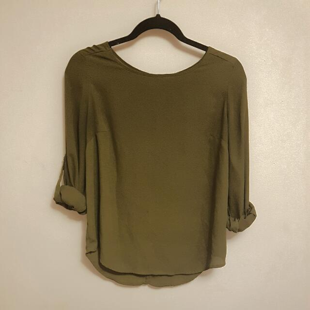 Olive Green Chiffon Long Sleeve