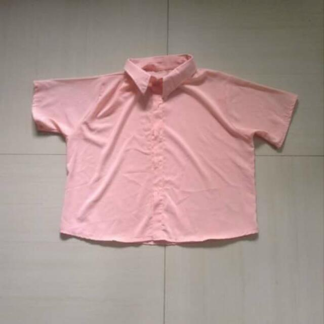 Peach Cropped Polo