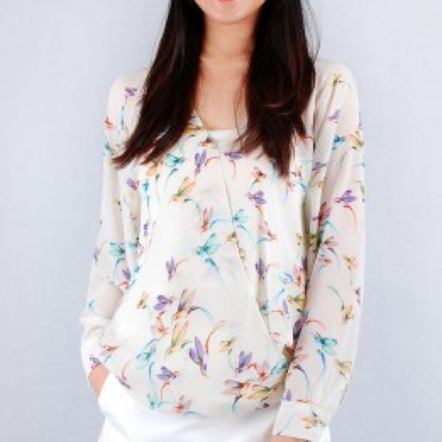 Phatculture Bird Chiffon Top