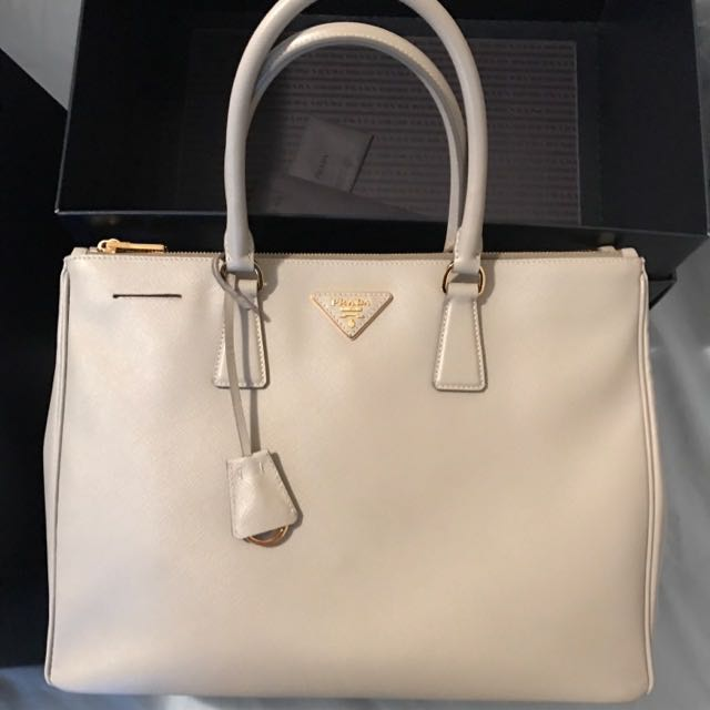 Prada Saffiano Double Zip Bag - Large - Grey